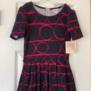Lularoe Amelia Geo circle pattern dress